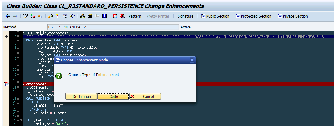 Creating an enhancement implementation in method OBJ_IS_ENHANCEABLE